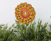Abstract garden decor - garden art - flower ornament - garden art - plant stake - lawn decoration -marigold yellow