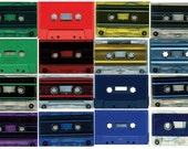 100 Vintage Color Audio Cassette Tape Shells Red Blue Green Solid or Tinted Shades 80s Eighties Party Decorations Placeholders