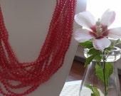 Vintage Pink Plastic Muti Strand Necklace