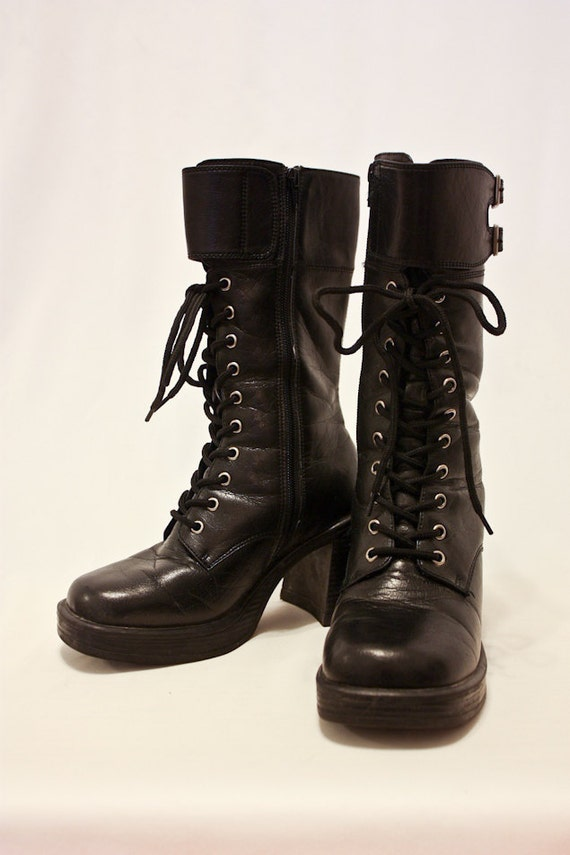90s Black CHUNKY COMBAT BUCKLE Boot 7
