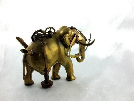 "Steampunk Elephant  "" Battle Tusk"" vintage brass"