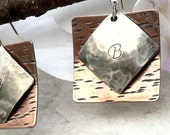 Initial Earrings in Copper and Silver, Personalized Earrings, mixed metal earrings, stamped jewelry