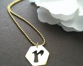 Initial charm necklace, octagon shaped brass charm, gold ball chain, small gold necklace
