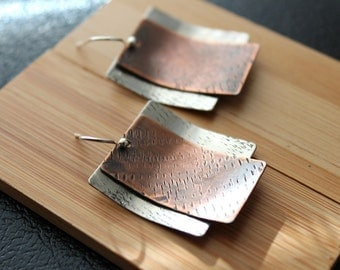 Mixed Metal Earrings, silver and copper earrings, modern earrings, handmade jewelry, rustic metal earring