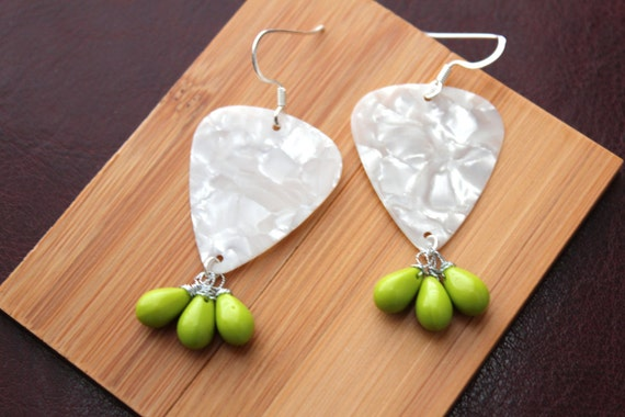 Guitar Pick Earrings in White with Lime Green briolettes