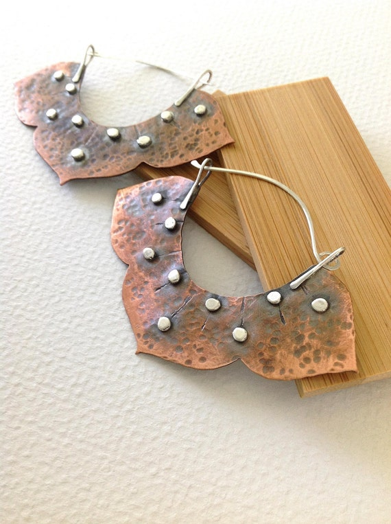 Rustic lotus hoops, Copper hoops,Copper and sterling silver earrings, Mehndi Modern Collection, hammered metal earrings