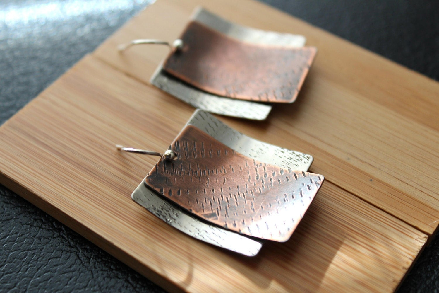 Mixed metal earrings silver and copper earrings modern for Handcrafted or hand crafted