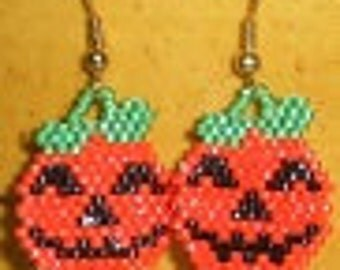 BEADING PATTERN   for Earrings or charm Pumpkin