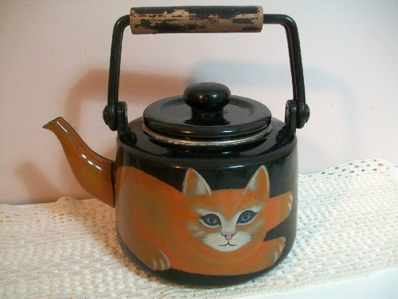 Vintage Martin Leman Enamel Tea Kettle