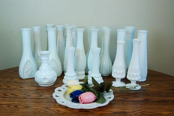 Vintage and Varied Milk Glass Vases: 25 for 3 dollars each