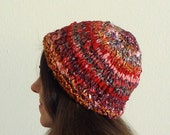Funky Red Fabric Hat / Skull Cap - Adult-Sized - Handknit