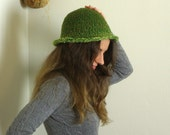 Lime and Kiwi Green Cloche Style Hat - Medium-Sized - Crocheted