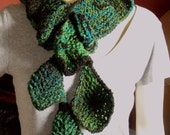 Falling Leaves in Every Shade of Green - Plush Handknit Scarf - 64 inches long