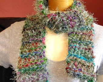 Furry Chenille Rainbow SCARF - Handknit Scarf - 54 Inches long
