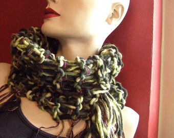 Soft, Plush Gray-Green Knit Cowl with Sparkle Ribbon Fringe and Side Tassel - Handknit Scarf - 12 Inches high