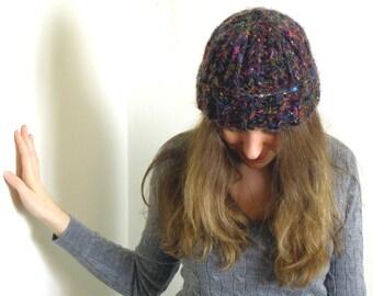 Onyx Rainbow Recycled Silk Sari KNIT HAT - Adult-Sized - Handknit