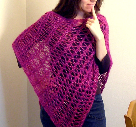 ON SALE - Sparkly Pink and Fuzzy Magenta Lacy Shawl / Poncho (Size - fits most)