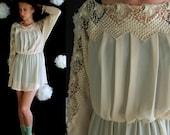 vtg 80s CREAM Sheer Crochet Lace BATWING pleated mini DRESS Small hippie festival gypsy