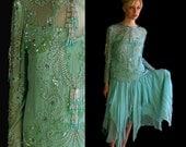vtg 80s Seafoam Green COCKTAIL sequin and beaded fringe TROPHY DRESS sheer silk Medium party skirt blouse