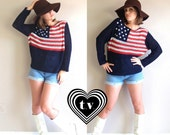 vtg 4th of July 80s navy Sheer Mesh AMERICAN FLAG knit SWEATER os slouchy festival top