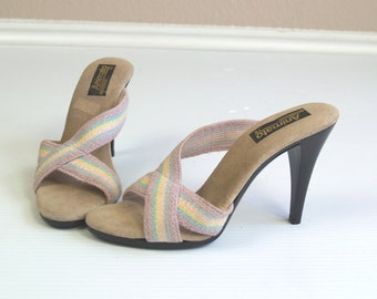 vtg 70s RAINBOW PASTEL Peep Toe STILETTOS heels pumps 7 shoes gypsy hippie festival