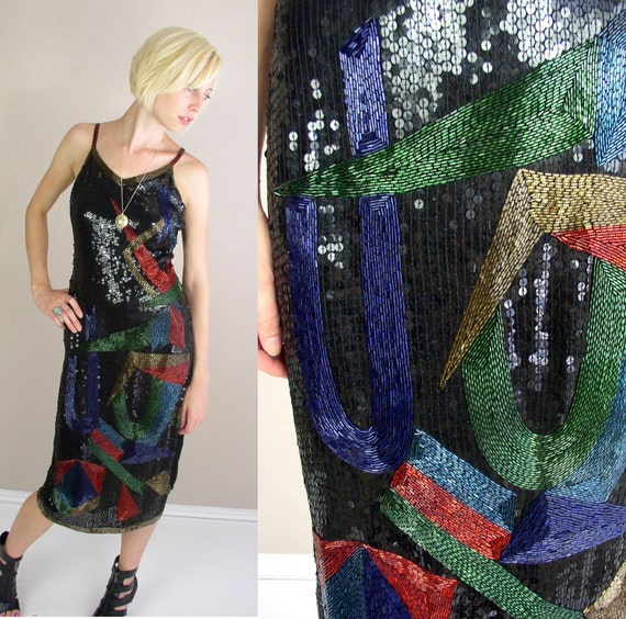 vtg 80s TROPHY DRESS abstract Avant Garde black colorful sequin silk S