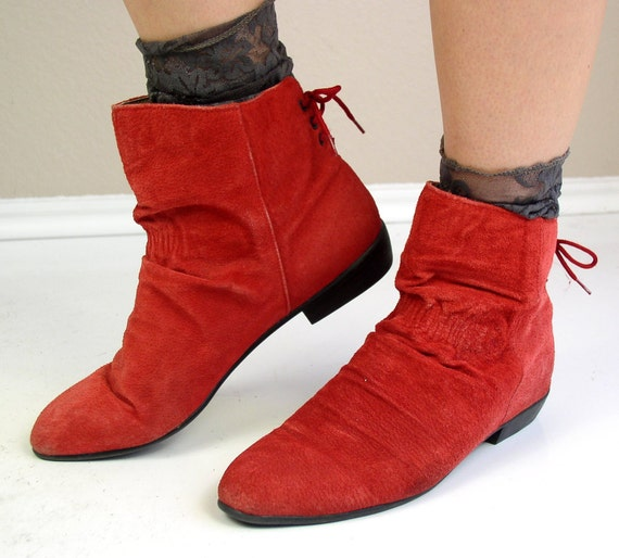 vintage 80s boots LIPSTICK RED suede leather CORSET pixie ankle pirate 10 flats