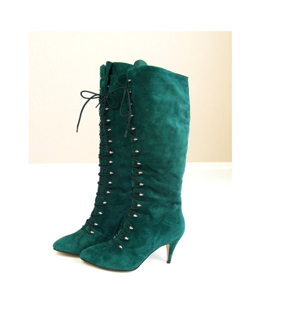 vtg 80s Emerald Green Suede KNEE HIGH lace up granny BOOTS grunge 7 boho shoes grunge