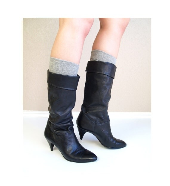 vtg 80s black leather SLOUCHY CUFF BOOTS tall heels 8.5 pirate boho