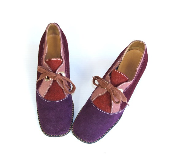 vtg 60s Purple and Pink suede COLORBLOCKED mod dolly HEELS space age oxfords 7 Twiggy shoes