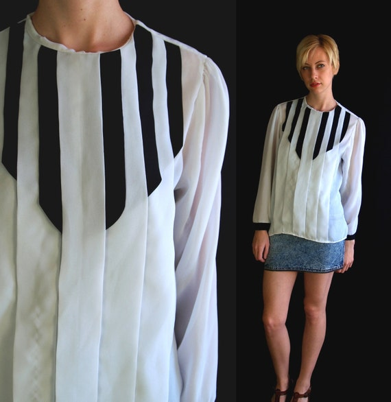 reserved for B vtg 80s black and white PIANO KEYS pleated BLOUSE top Medium puff sleeve avant garde