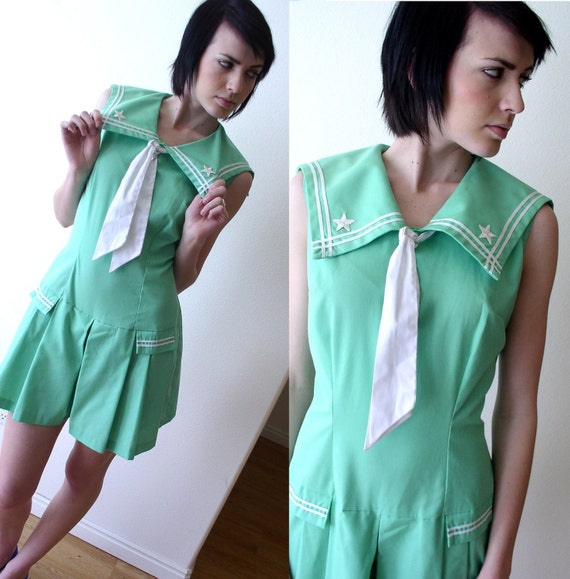 rare vtg 60s Mint Green STARS mod ascot SAILOR ROMPER jumpsuit nautical summer Medium dolly
