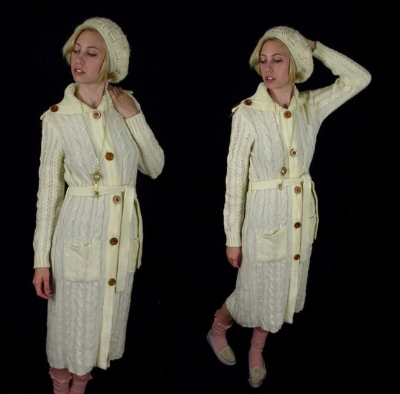 reserved for Kristen vtg 70s Sweater WOOD BUTTONS cable knit BELTED hippie Medium fisherman cardigan boho