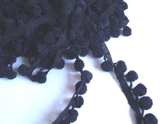 vintage 60s Black 1 inch POM POM TRIM 1 yard section ball fringe sewing retro mod fiesta