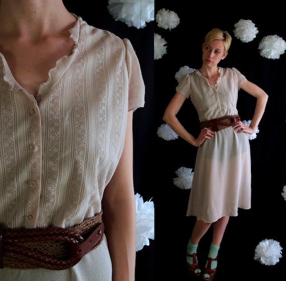 vtg 70s nude FLORAL LACE semi-sheer DRESS boho Medium hippie romantic Victorian