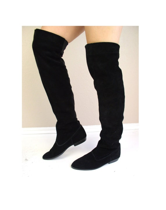 vtg 80s Black Suede OTK Thigh High RIDING BOOTS flat 8.5 pirate festival rocker