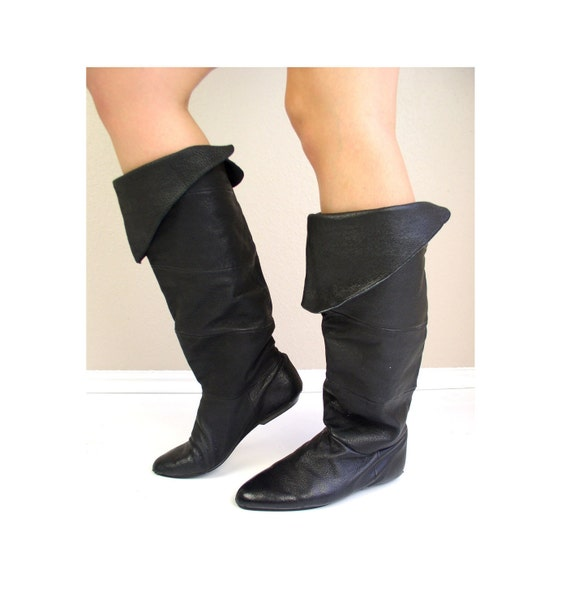 RARE vintage 80s boots OTK Black Leather Tall PIRATE slouchy 7 flat riding boho