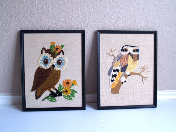 vintage 70s set of 2 EMBROIDERED OWL framed PICTURES wall hangings kitschy home decor retro art