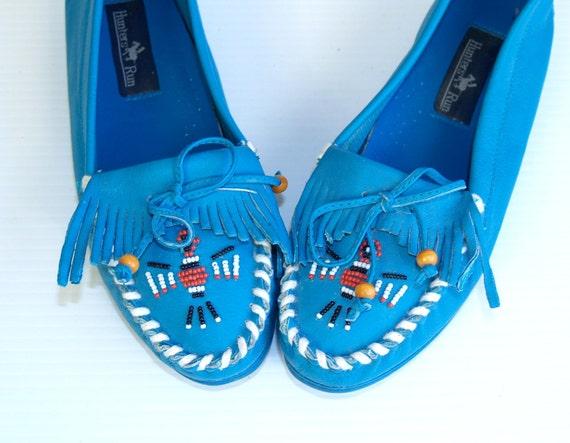 reserved for Lotuslulu vtg 70s Blue Leather SOUTHWESTERN fringe Beaded TRIBAL MOCCASINS flat shoes 7 hippie festival
