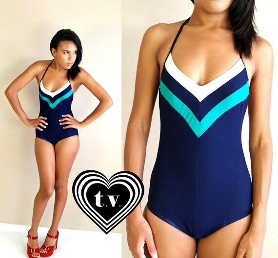 vtg 80s Navy CHEVRON STRIPED halter neck SWIMSUIT Medium swim bathing suit