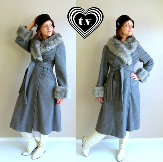 vtg 70s gray wool FAUX FUR fitted princess Wrap COAT mod Large belted fitted