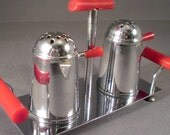 Vintage Midcentury Urban Chrome and Red Coffee Percolator Salt and Pepper Shakers