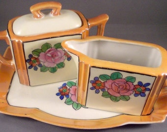 Vintage Handpainted Floral Cream and Sugar Set Kitchen Decor Serving Accessory