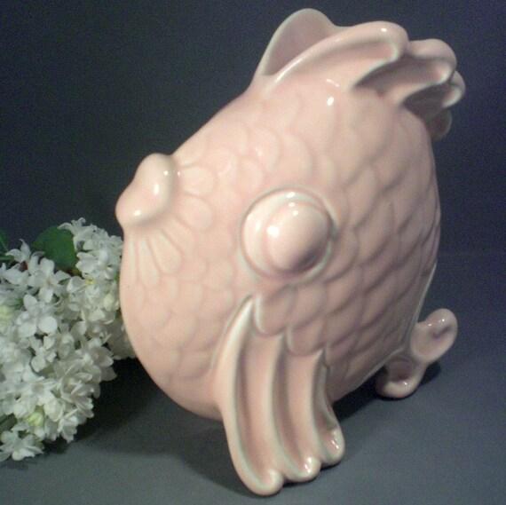 Vintage 1940s Pink Fish Garden Art Pottery Planter or Vase