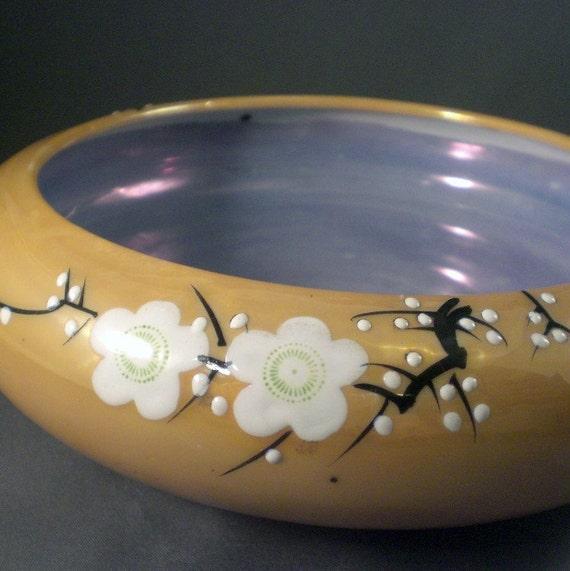 Vintage Japanese Ceramic Flower Vase or Bowl Feng Shui Lusterware