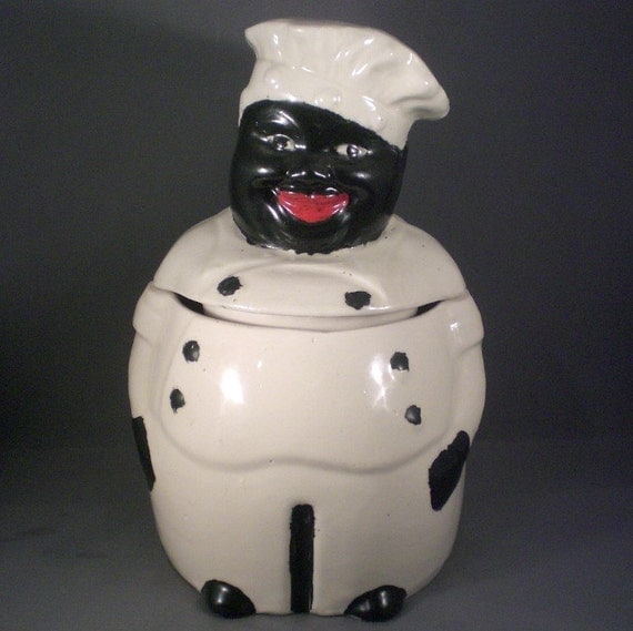 French Ceramic Sugar Bowl 1950s Folk Pottery Country Cottage: Vintage Mid Century Black Americana Chef Cookie By