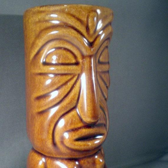 Vintage Tiki Mug or Vase Hawaiian Tropical Moai Beach