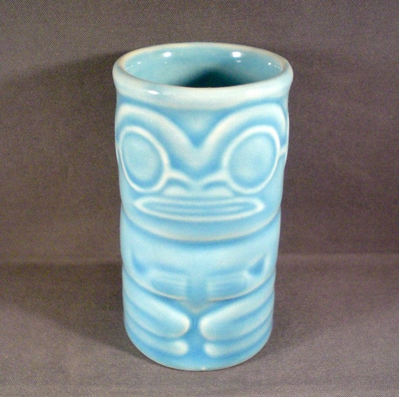 Vintage Mid Century Tiki Shot Glass or Toothpick Holder Hawaiian Tropical Moai Beach