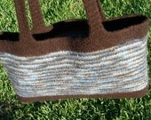 Tote bag, purse, brown and blue variegated, hand knit, felted wool,  watercolor dreams