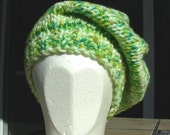 Slouch Hat beanie stocking cap or beret in apple green yellow hand knit with a seed stitch ribbing